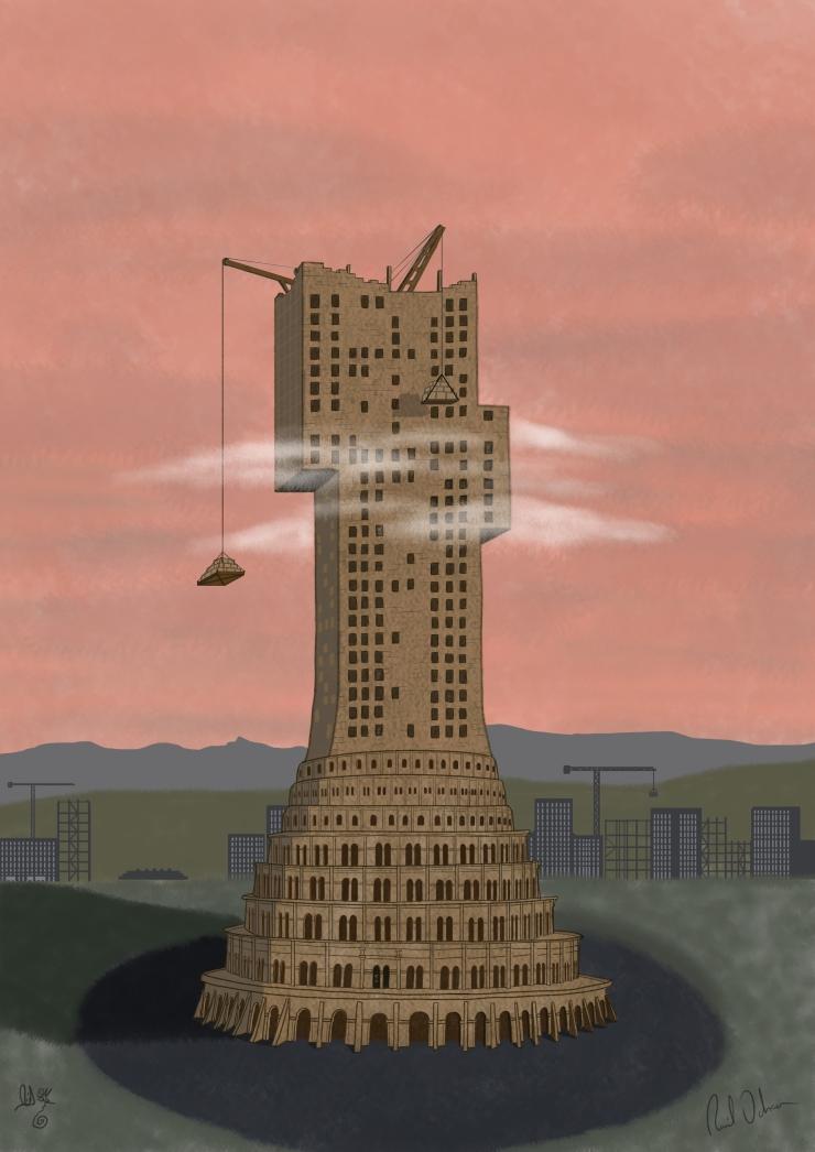 La Torre de Babel niebla baja